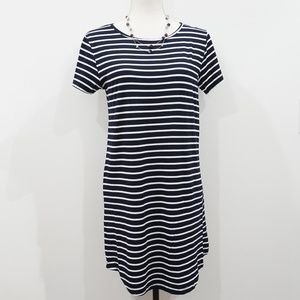 Navy and White Striped Short Sleeve T-Shirt Dress